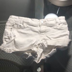 girls white  tractr shorts w/ mini roll